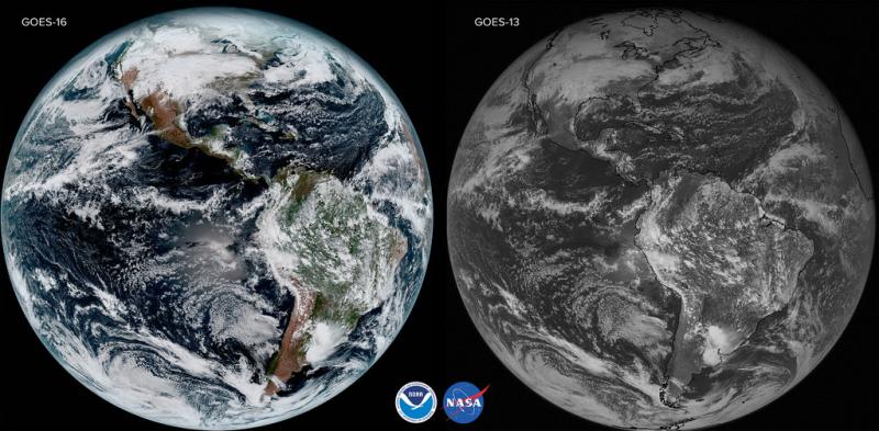 Porównanie jakości zdjęć z GOES-16 (po lewej) i GOES-13 (po prawej)
