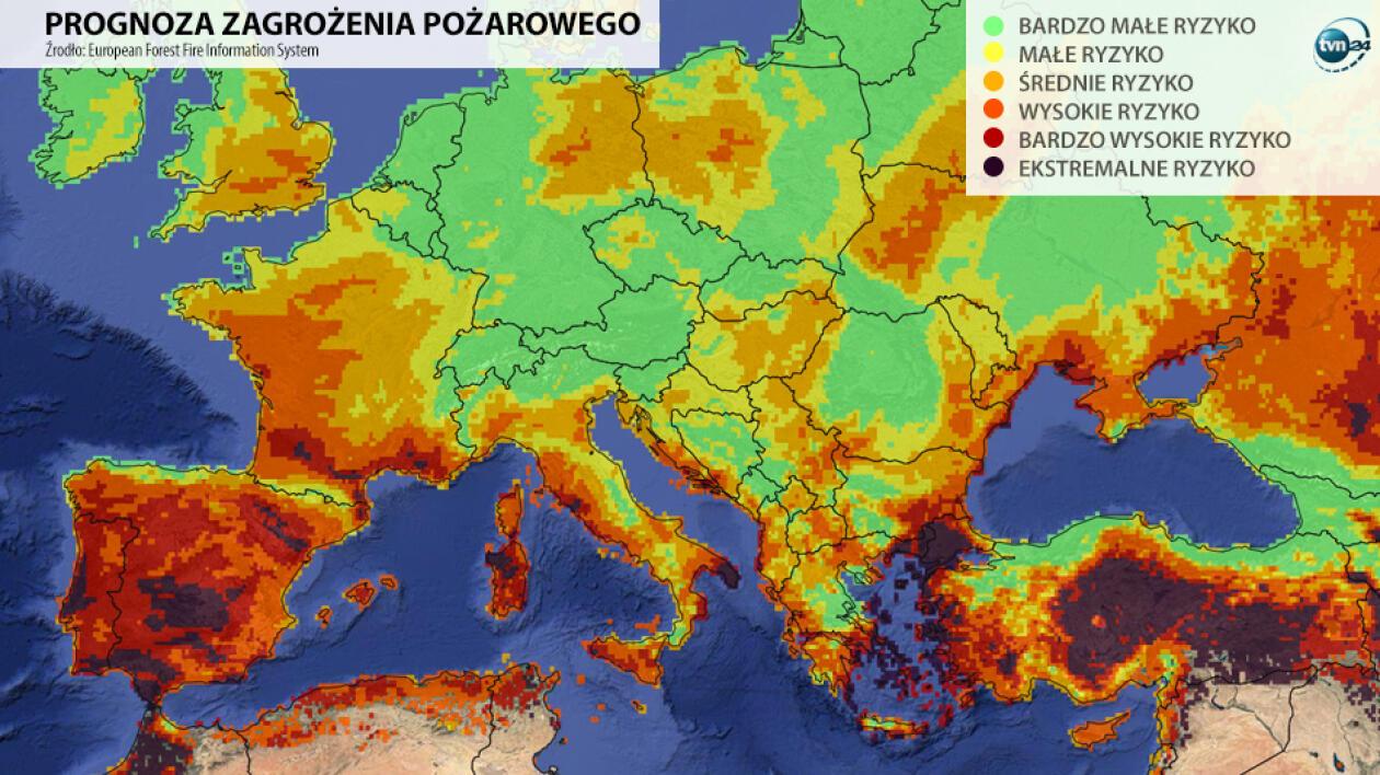 Pożary w Europie, interaktywna mapa Ze świata.
