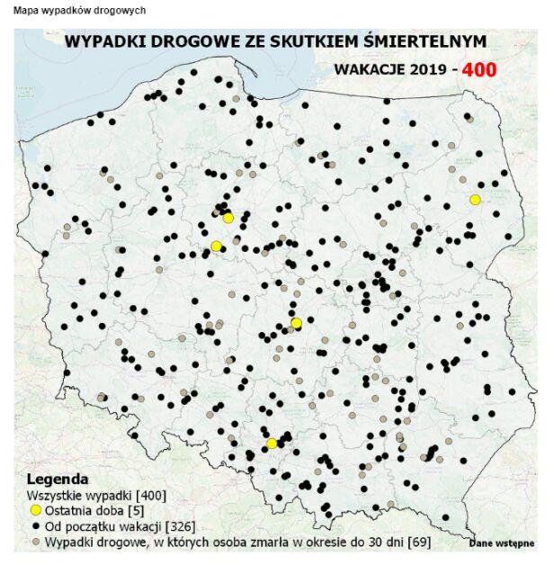 Mapa śmiertelnych wypadków policja.pl