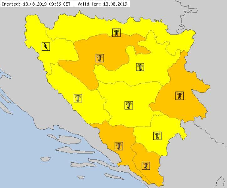Aktualne ostrzeżenia meteorologiczne w Bośni (za meteoalarm.eu)