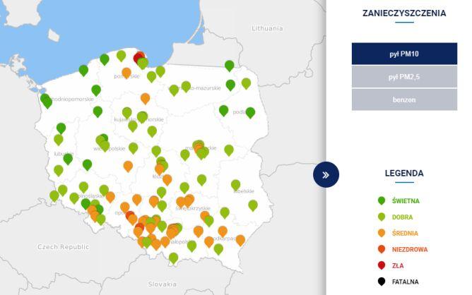 Stężenie pyłu PM10 w Polsce o godzinie 6 (tvnmeteo.pl za GIOŚ)