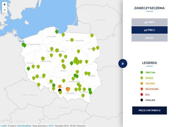 Stężenie pyłu PM2,5 o godzinie 11 (tvnmeteo.pl za GIOŚ)