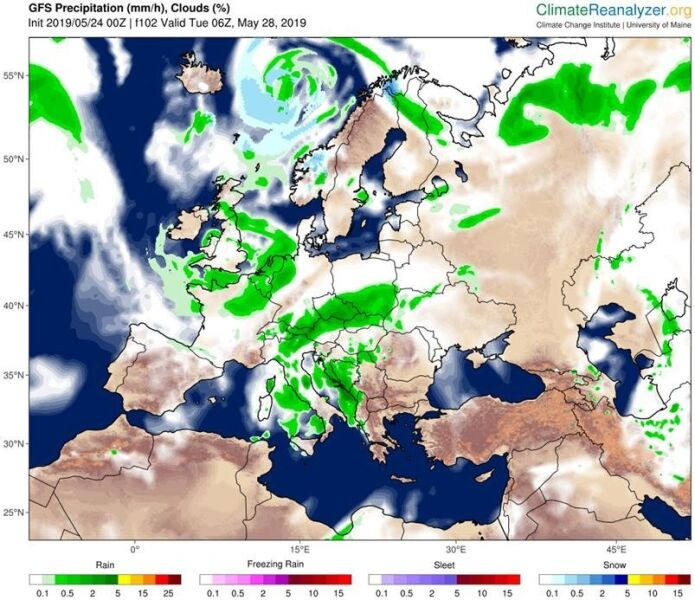 Prognoza opadów na wtorek 28 maja (GFS/University of Maine)
