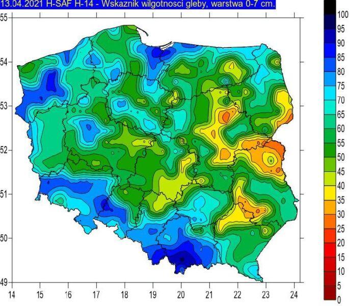 Wskaźnik wilgotności gleby na głębokości 0-7 cm w dniu 13.04.2021 na podstawie obrazów satelitarnych (IMGW-PiB)