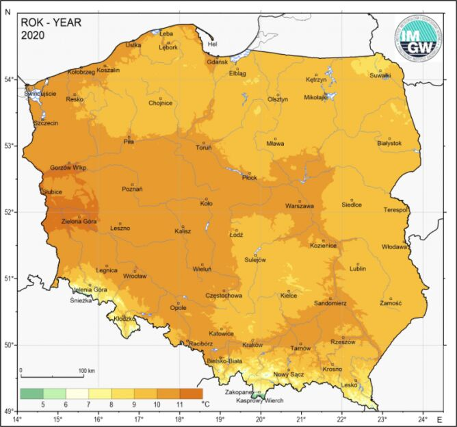 Temperatura średnia w roku 2020 (IMGW)